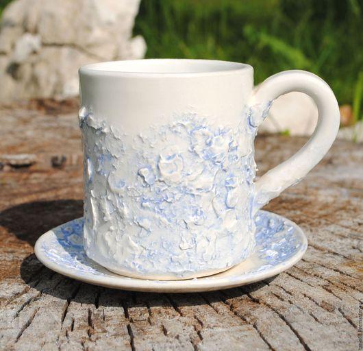 """Сервизы, чайные пары ручной работы. Ярмарка Мастеров - ручная работа. Купить Кофейная пара """"Снежок"""". Handmade. Голубой"""