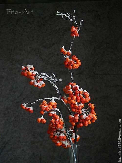 Цветы ручной работы. Ярмарка Мастеров - ручная работа. Купить Ветки рябины в снегу. Handmade. Рябина, ночь, полимерная глина
