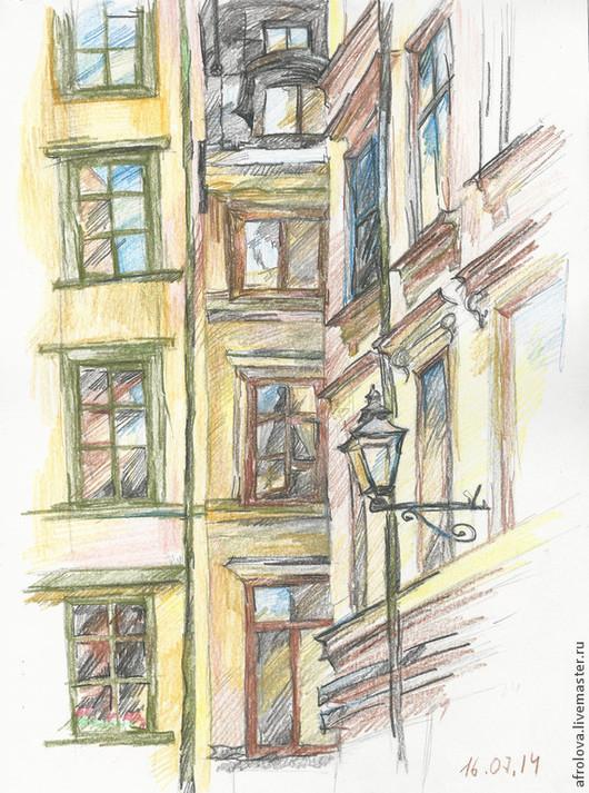 Город ручной работы. Ярмарка Мастеров - ручная работа. Купить Стокгольм - моя любовь. Handmade. Пейзаж, карандашная работа, портрет