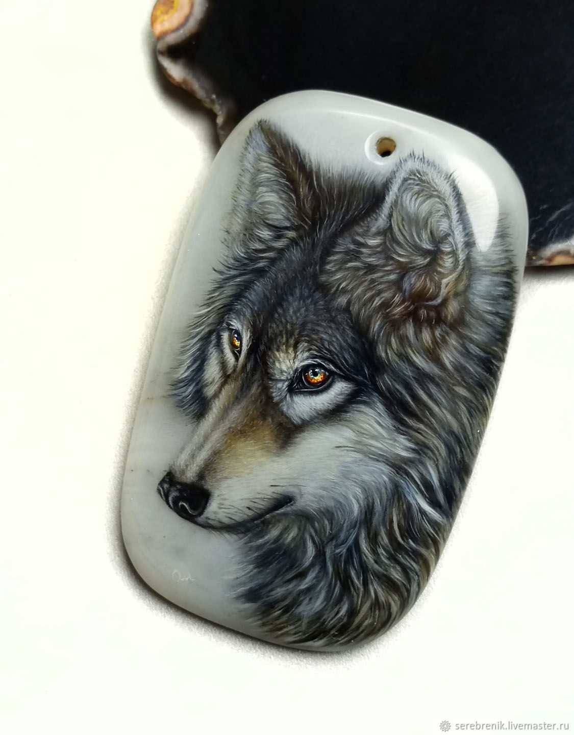 Wolf-pendant painted on milk agate-totem-amulet-amulet, Pendant, Moscow,  Фото №1