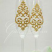 Свадебный салон ручной работы. Ярмарка Мастеров - ручная работа Свадебные бокалы Chocolate Queen. Handmade.