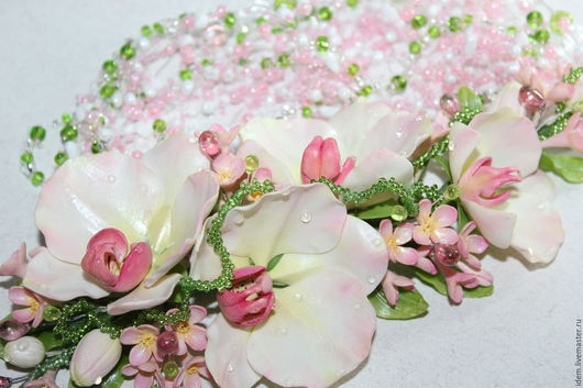 Комплекты украшений ручной работы. Ярмарка Мастеров - ручная работа. Купить орхидейки. Handmade. Бледно-розовый, свадебное украшение