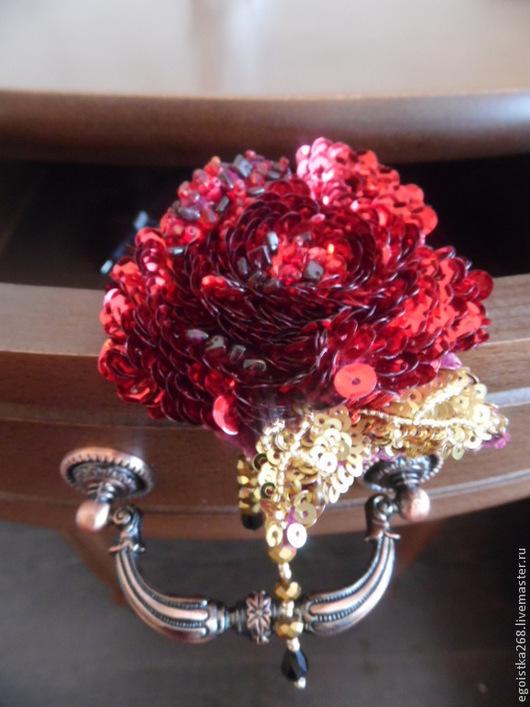 """Броши ручной работы. Ярмарка Мастеров - ручная работа. Купить брошка """"Её величество-Роза"""",в стиле D&G. Handmade."""
