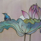 Картины и панно handmade. Livemaster - original item panels of batik Bird and Lotus. Handmade.
