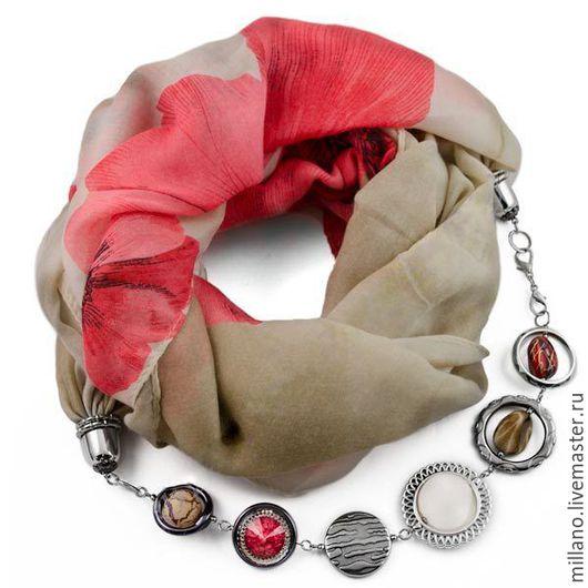 Шарфы и шарфики ручной работы. Ярмарка Мастеров - ручная работа. Купить Хлопковый шарф-ожерелье с цветами красный. Handmade.