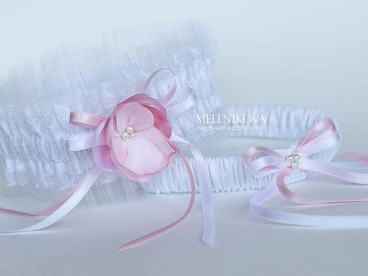 """Одежда и аксессуары ручной работы. Ярмарка Мастеров - ручная работа. Купить Комплект подвязок """"Ваниль"""". Handmade. Подвязка невесты, белый"""
