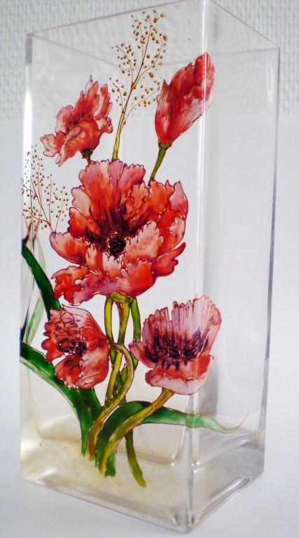 """Вазы ручной работы. Ярмарка Мастеров - ручная работа. Купить Ваза """"Попугайчатые тюльпаны"""" (0134). Handmade. Цветы"""