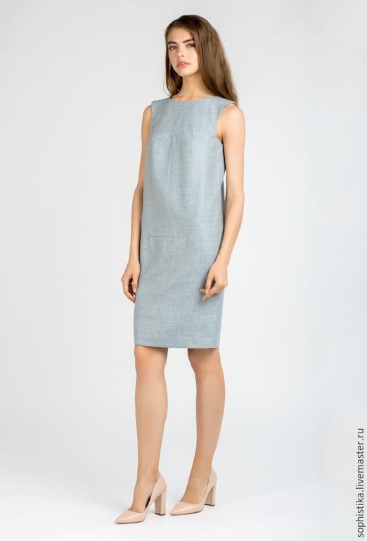 Платья ручной работы. Ярмарка Мастеров - ручная работа. Купить -50% Элегантное платье. Handmade. Голубой, зауженный силуэт, деловое