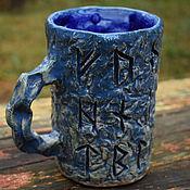 Посуда handmade. Livemaster - original item Blue Futhark - ceramic carved mug. Handmade.