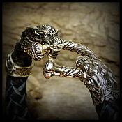 """Украшения ручной работы. Ярмарка Мастеров - ручная работа Браслет """"Кельтские волки"""" кожаный шнур , бронза авторская бол.замок. Handmade."""
