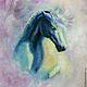 """Животные ручной работы. Ярмарка Мастеров - ручная работа. Купить Картина маслом """"Лошадь"""". Handmade. Бледно-сиреневый, лошадь, анимализм"""