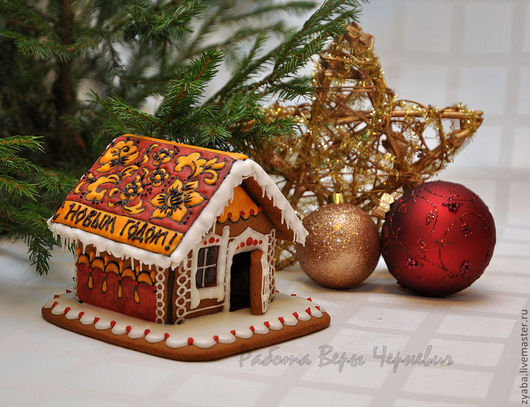 """Кулинарные сувениры ручной работы. Ярмарка Мастеров - ручная работа. Купить """"Хохлома""""  пряничный домик - оригинальный подарок на новый год. Handmade."""