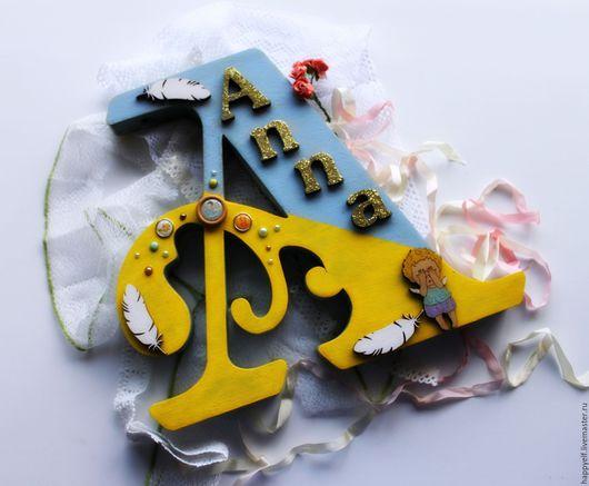 Интерьерные слова ручной работы. Ярмарка Мастеров - ручная работа. Купить Буква. Handmade. Буква, слова для интерьера, комбинированный, брадсы