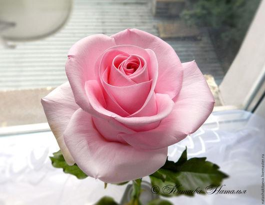 Цветы ручной работы. Ярмарка Мастеров - ручная работа. Купить Роза Revival из фоамирана и полимерной глины. Handmade. Бледно-розовый