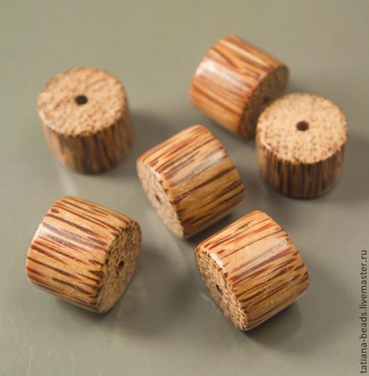 Для украшений ручной работы. Ярмарка Мастеров - ручная работа. Купить Бусины светло-коричневые бочонки из дерева молодой пальмы 20 мм. Handmade.