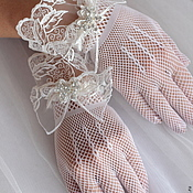 Свадебный салон ручной работы. Ярмарка Мастеров - ручная работа Перчатки свадебные. Кружевной манжет. Handmade.