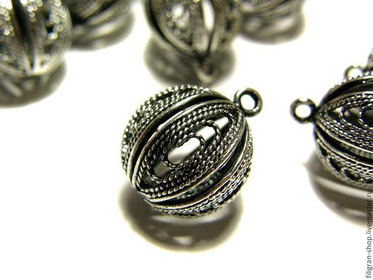 Для украшений ручной работы. Ярмарка Мастеров - ручная работа. Купить Подвеска филигранная 16х9 мм старинное серебро. Handmade.