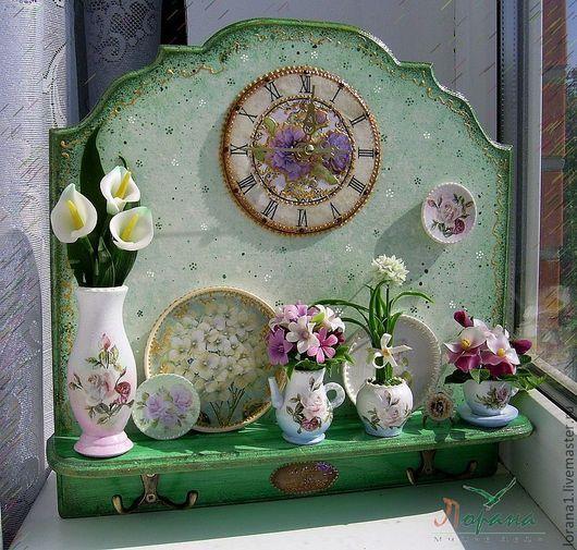 """Часы для дома ручной работы. Ярмарка Мастеров - ручная работа. Купить Панно+часы+вешалка  """"Fleurs"""" .. Handmade. Цветы ручной работы, часы"""
