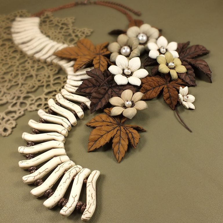 Dawn Desert Wind. Necklace, brooch made of genuine leather, Jewelry Sets, St. Petersburg,  Фото №1