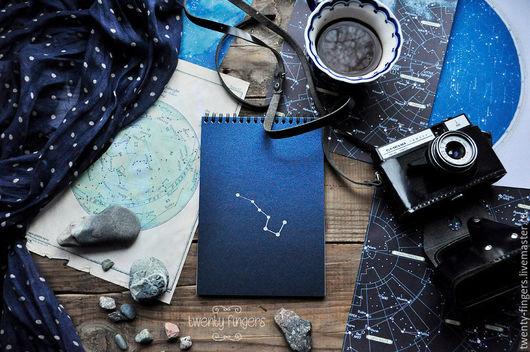 """Блокноты ручной работы. Ярмарка Мастеров - ручная работа. Купить Блокнот """"Ночь"""" Blue А5. Handmade. Тёмно-синий, блокнот"""
