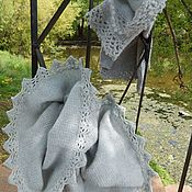 Аксессуары handmade. Livemaster - original item Grey knit kit - Snood and mitts  with lace trim. Handmade.