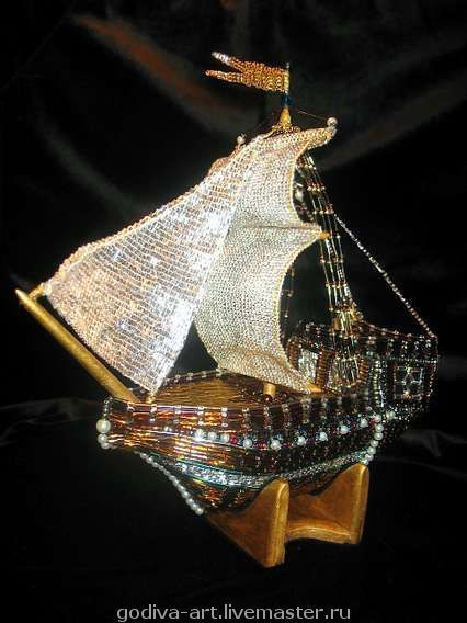 """Подарки для мужчин, ручной работы. Ярмарка Мастеров - ручная работа. Купить Корабль """"Бьюти"""". Handmade. Бисер, эксклюзивный подарок, море"""