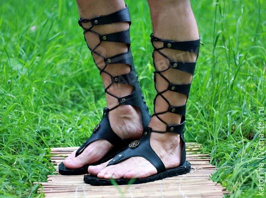 Обувь ручной работы. Ярмарка Мастеров - ручная работа. Купить Гладиаторы Мужские на шнуровке из кожи Черные. Handmade. Черный