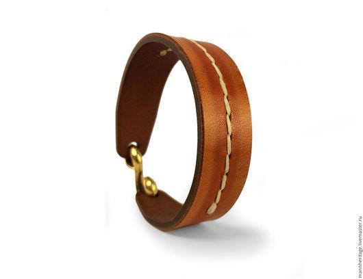 Браслеты ручной работы. Ярмарка Мастеров - ручная работа. Купить Кожаный браслет S-Hook - тыквенный со швом. Handmade.