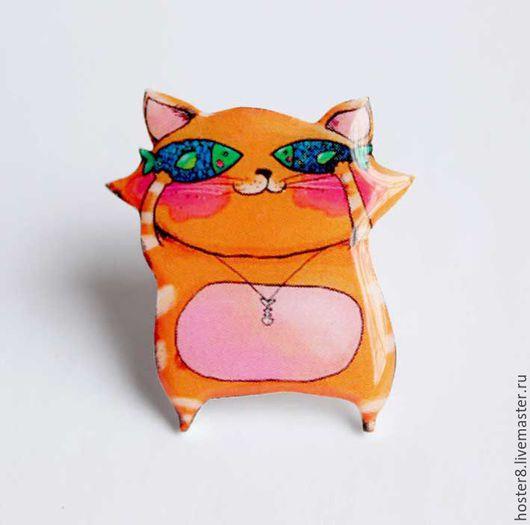 """Броши ручной работы. Ярмарка Мастеров - ручная работа. Купить Брошь""""Котя с рыбками"""". Handmade. Рыжий, кошка, коты, брошь с котом"""
