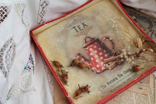 """Кухня ручной работы. Ярмарка Мастеров - ручная работа. Купить Поднос """"Tea"""" (двухсторонний). Handmade. Ярко-красный, деревянная заготовка"""