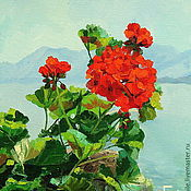 Картины и панно handmade. Livemaster - original item Oil painting on canvas. Mountain geranium. Handmade.