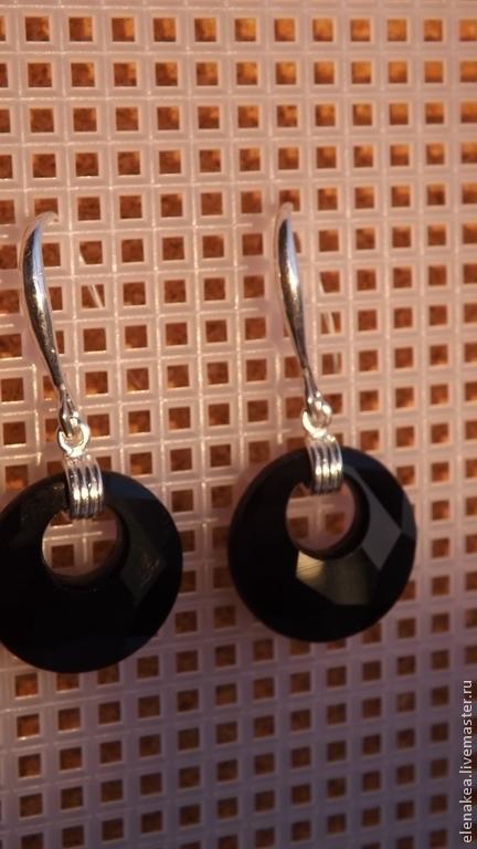 Серьги ручной работы. Ярмарка Мастеров - ручная работа. Купить Серьги Чёрные круги. Handmade. Черный, серьги с кристаллами