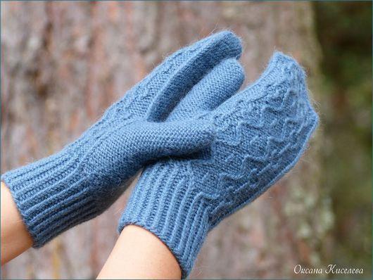 Варежки, митенки, перчатки ручной работы. Ярмарка Мастеров - ручная работа. Купить Варежки вязаные женские серо-голубые. Handmade.