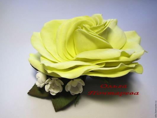 """Заколки ручной работы. Ярмарка Мастеров - ручная работа. Купить Роза """"Солнечная"""". Handmade. Лимонный, роза из фоамирана, желтая роза"""