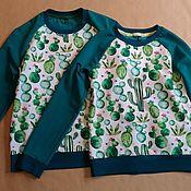 """Одежда ручной работы. Ярмарка Мастеров - ручная работа Свитшот """"Акварельные кактусы"""". Handmade."""