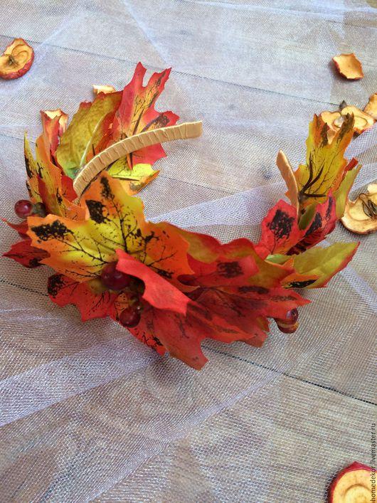 Диадемы, обручи ручной работы. Ярмарка Мастеров - ручная работа. Купить Ободок для волос Осенние листья. Handmade. Рыжий