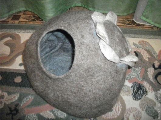 """Аксессуары для кошек, ручной работы. Ярмарка Мастеров - ручная работа. Купить Домик-норка """"Ракушка"""". Handmade. Серый, домик для кошки"""