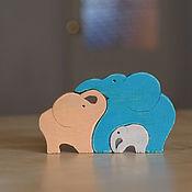 """Куклы и игрушки ручной работы. Ярмарка Мастеров - ручная работа пазл """"семья слоников"""". Handmade."""