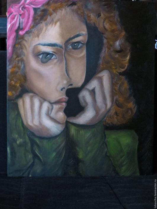 Люди, ручной работы. Ярмарка Мастеров - ручная работа. Купить Девушка с бантом. Handmade. Комбинированный, масло, портрет, холст на подрамнике