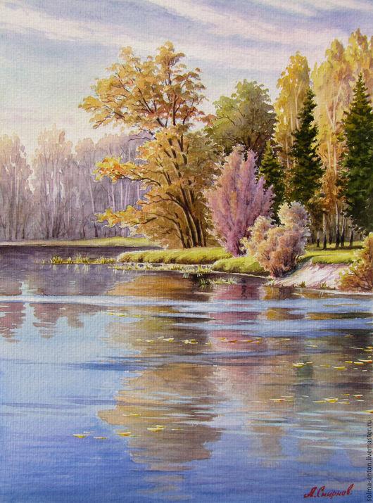 Пейзаж ручной работы. Ярмарка Мастеров - ручная работа. Купить Осенний мотив. Handmade. Комбинированный, озеро, лес, вода