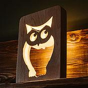 Для дома и интерьера handmade. Livemaster - original item Night lamp in the nursery Owl. Natural wood. Handmade.
