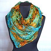 Аксессуары ручной работы. Ярмарка Мастеров - ручная работа шелковый шарф бирюзово изумрудный с рыжим натуральный шёлк. Handmade.