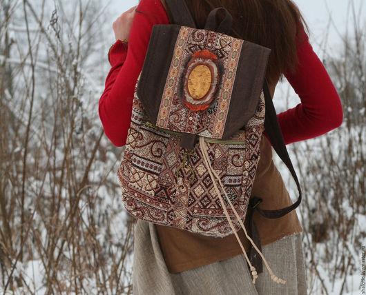 Гобеленовый рюкзак, текстильный рюкзак, сумки и рюкзаки ручной работы, оригинальный подарок для девушки, автор Юлия Льняная сказка