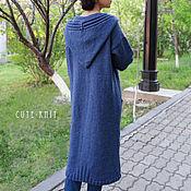 Одежда handmade. Livemaster - original item Long knitted cardigan with pockets and hood color blue. Handmade.