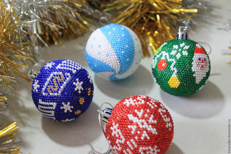 Вязание шаров из бисера