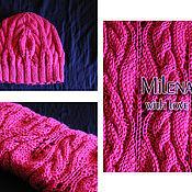 Аксессуары handmade. Livemaster - original item Knitted set Sakura flowers, knitted hat, knitted scarf - snud.. Handmade.