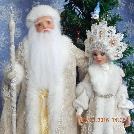 Коллекционные куклы ручной работы. Ярмарка Мастеров - ручная работа. Купить Дед мороз и Снегурочка. Handmade. Бежевый, подарок, бисер