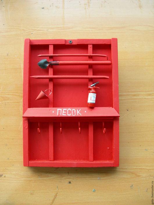 Прихожая ручной работы. Ярмарка Мастеров - ручная работа. Купить Ключника Пожарный щит. Handmade. Ярко-красный, дерево