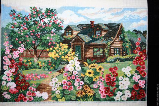 картина, деревня, домик в деревне, вышитая картина, картина деревня, деревенский стиль, деревенские мотивы, летний домик, картина домик