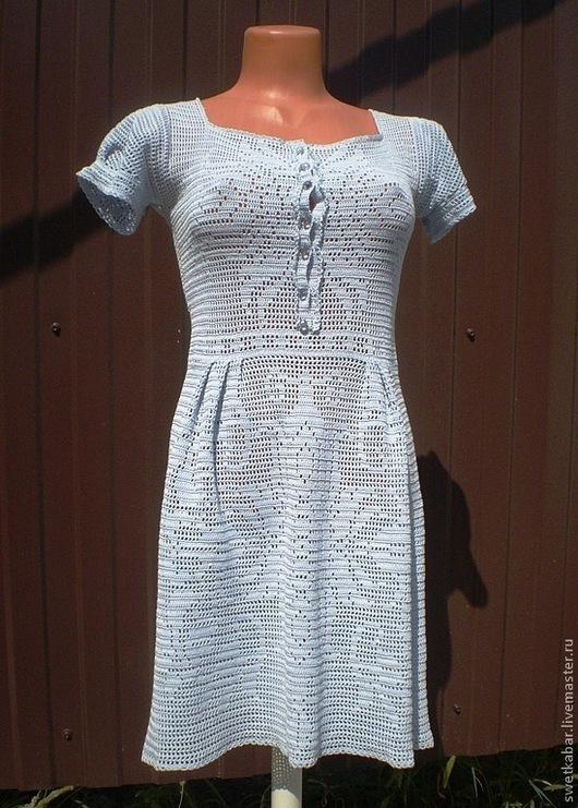 """Платья ручной работы. Ярмарка Мастеров - ручная работа. Купить Платье """"Небесное"""". Handmade. Голубой, платье вязаное, авторское платье"""